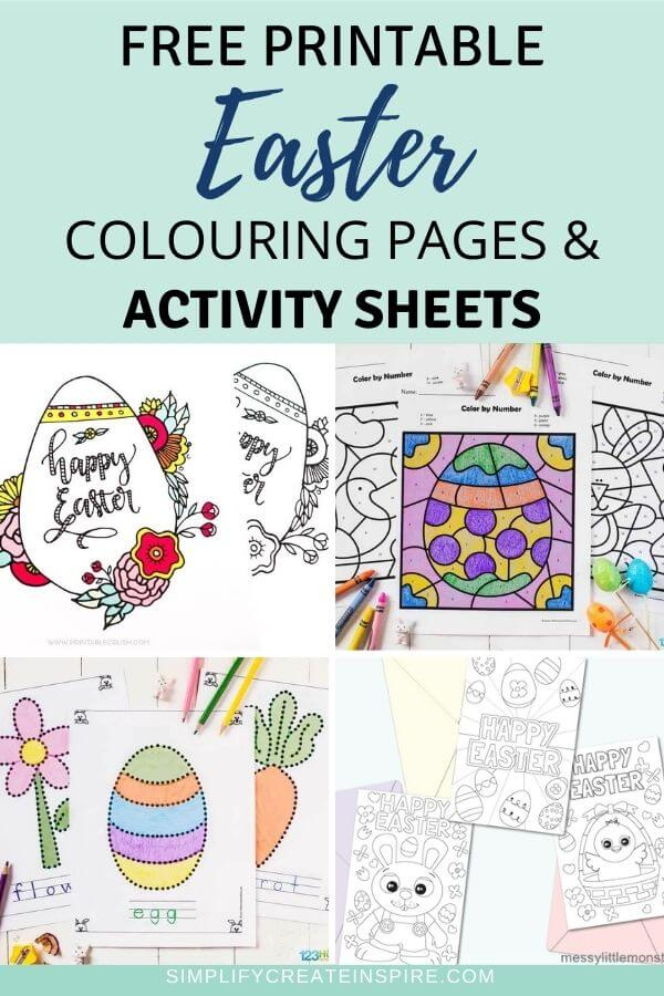 Free pirntable easter colouring pages & activity sheets