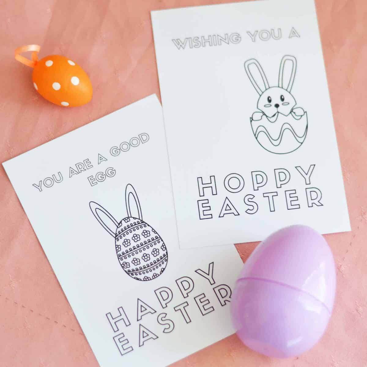 Printable easter colouring in cards