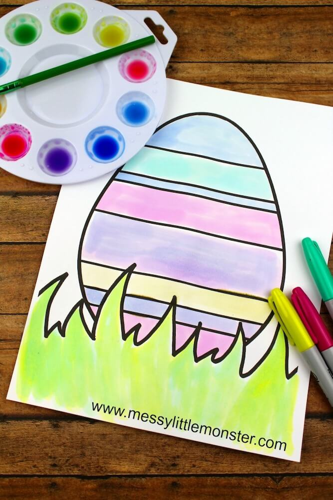 Water colour easter egg sheet