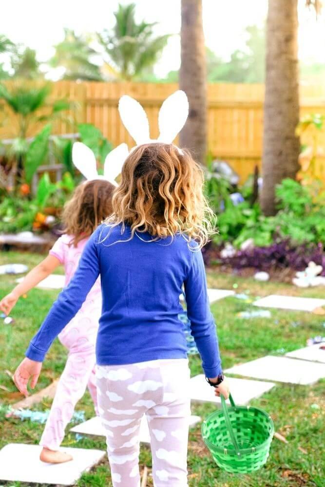 Kids on an easter egg hunt