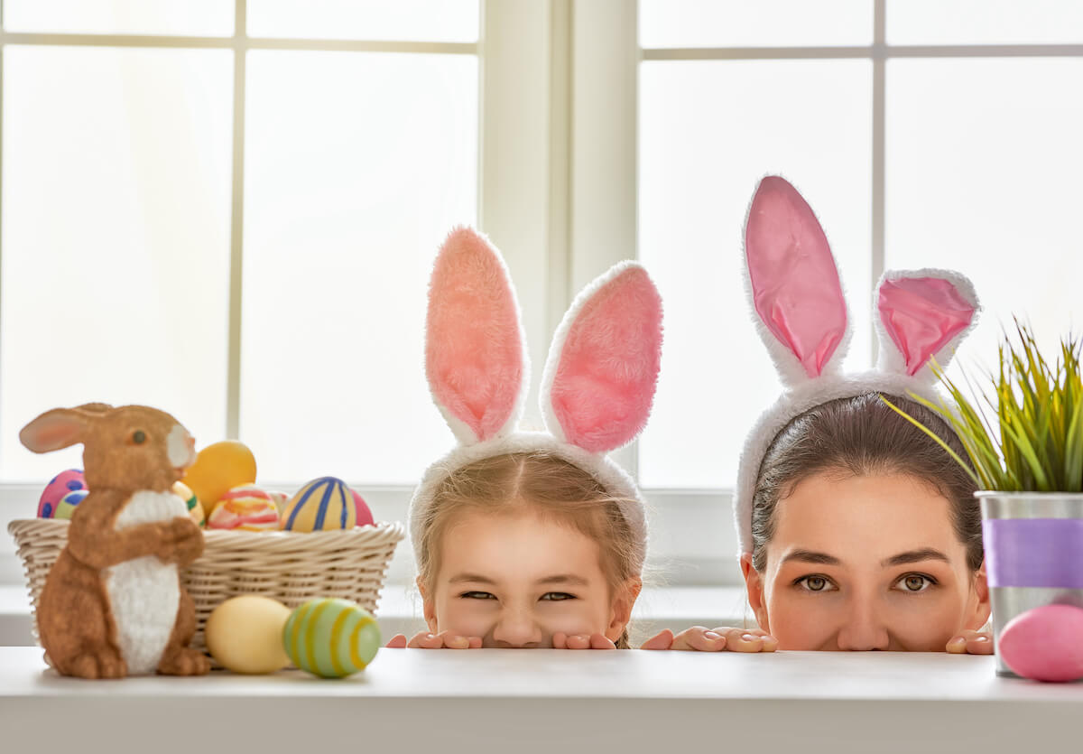 Mum and daughter with bunny ears