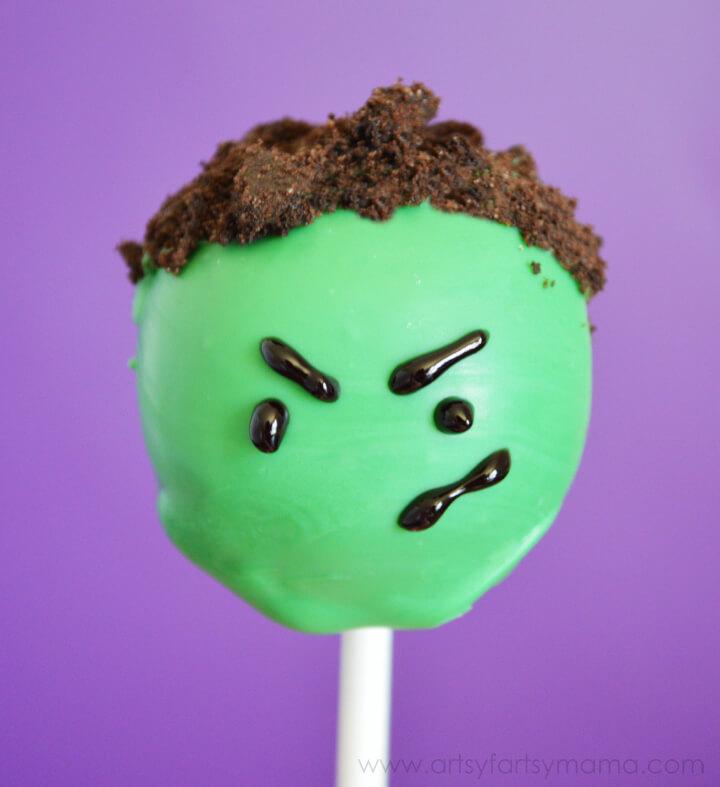 Hulk cake pops