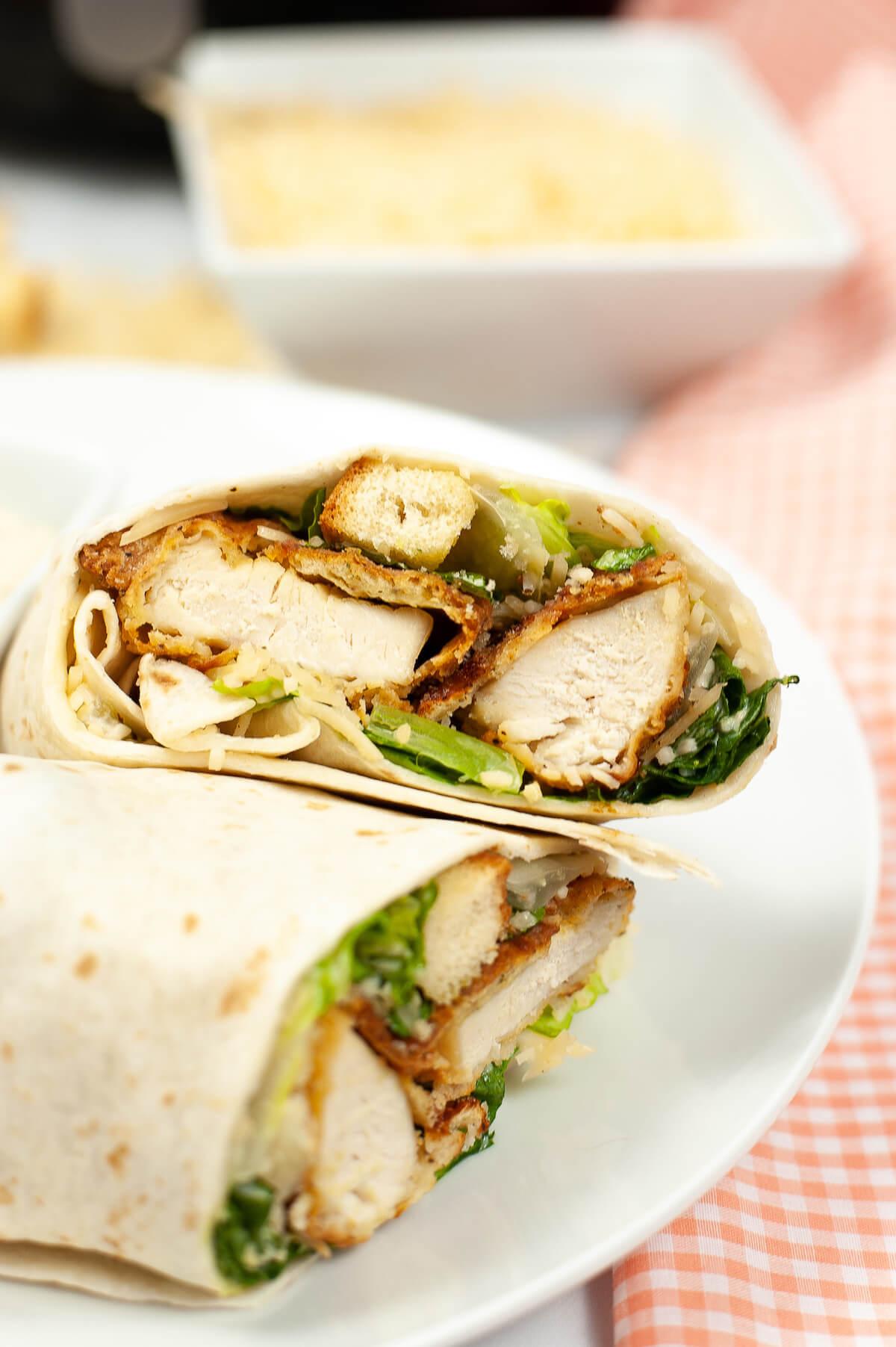 Air fryer crispy chicken caesar wraps