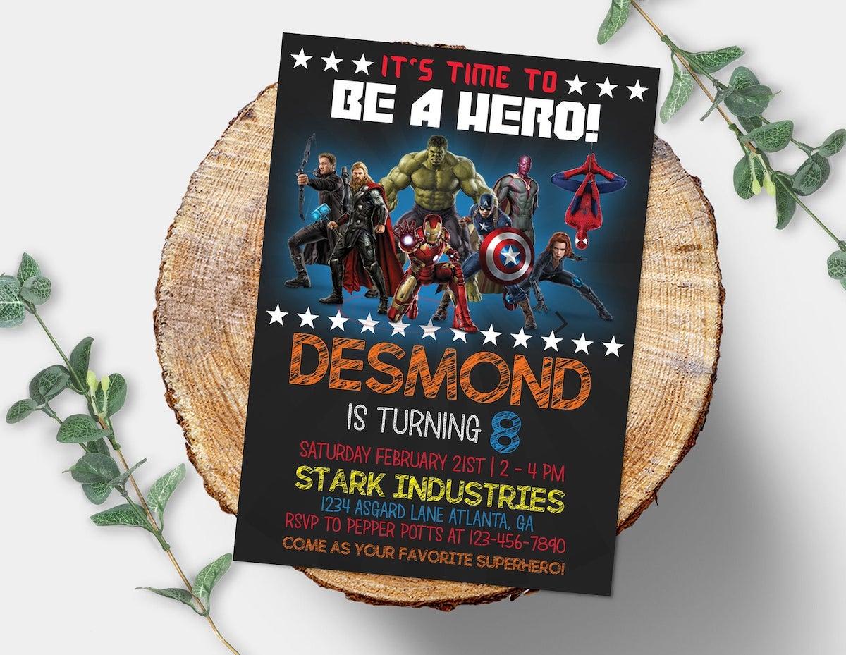 Avengers party invitation dark