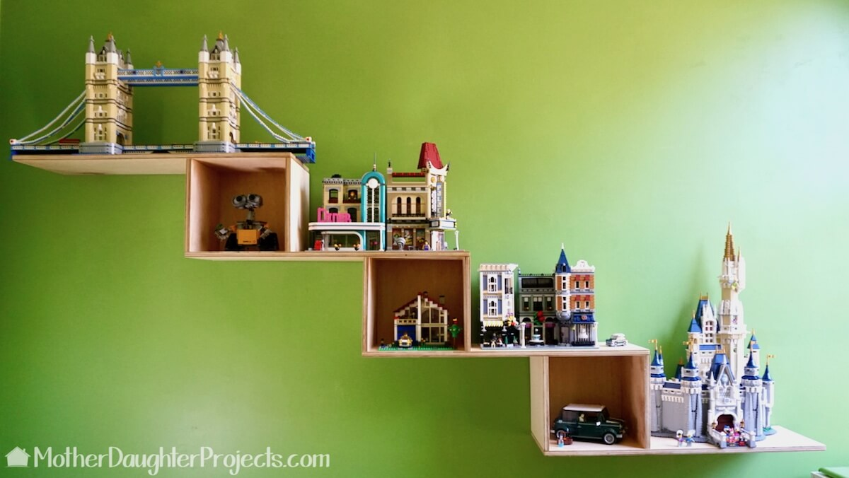 Lego plywood shelf unit