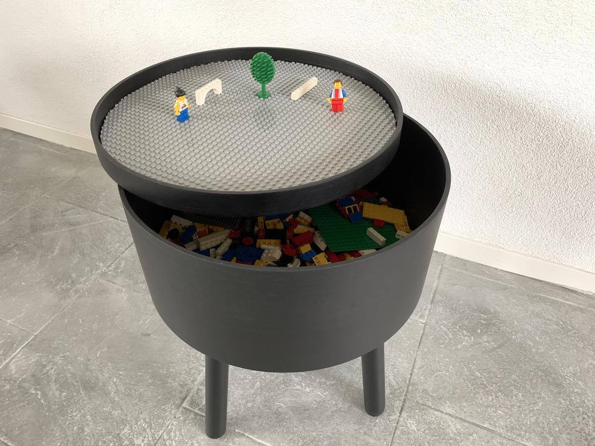 Round lego table with storage