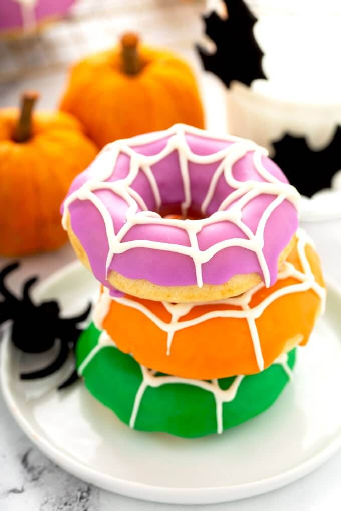 Halloween spiderweb baded donuts 1 50 easy halloween party finger foods, treats & appetiser ideas