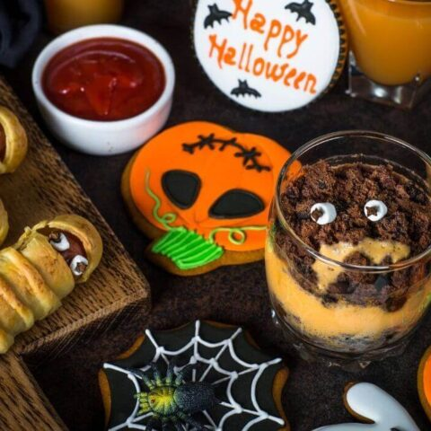 halloween party finger foods and appetisers table