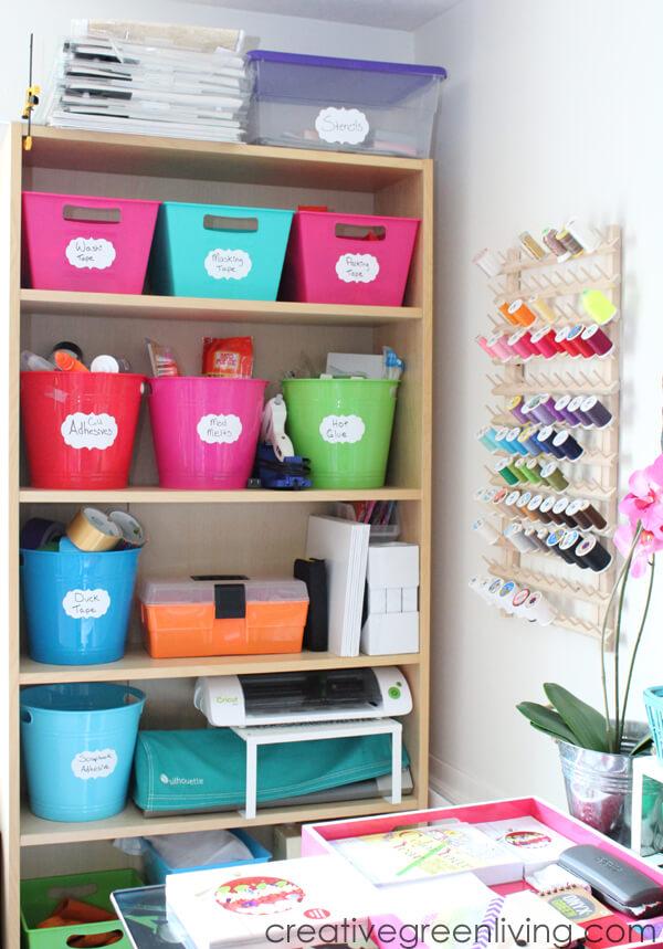 Colourful tub storage