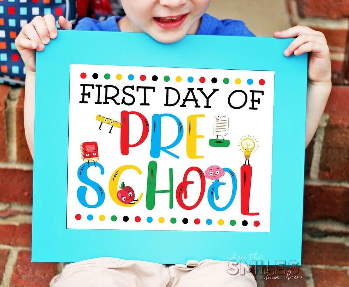 Colourful first day of school sign