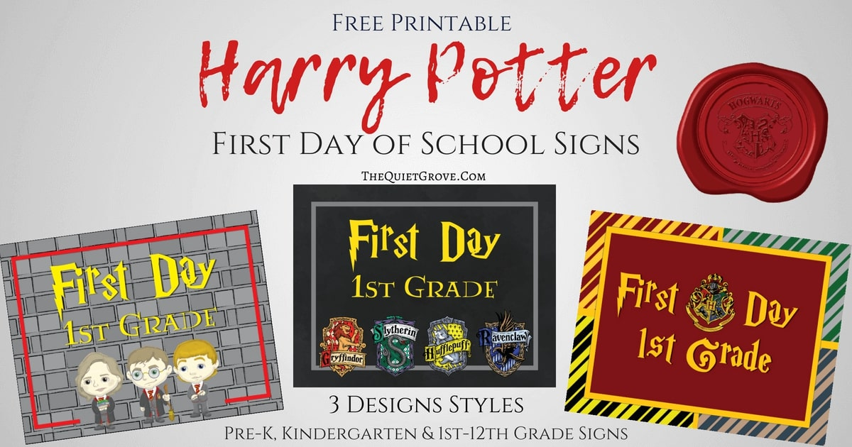 Harry potter first day of school printables