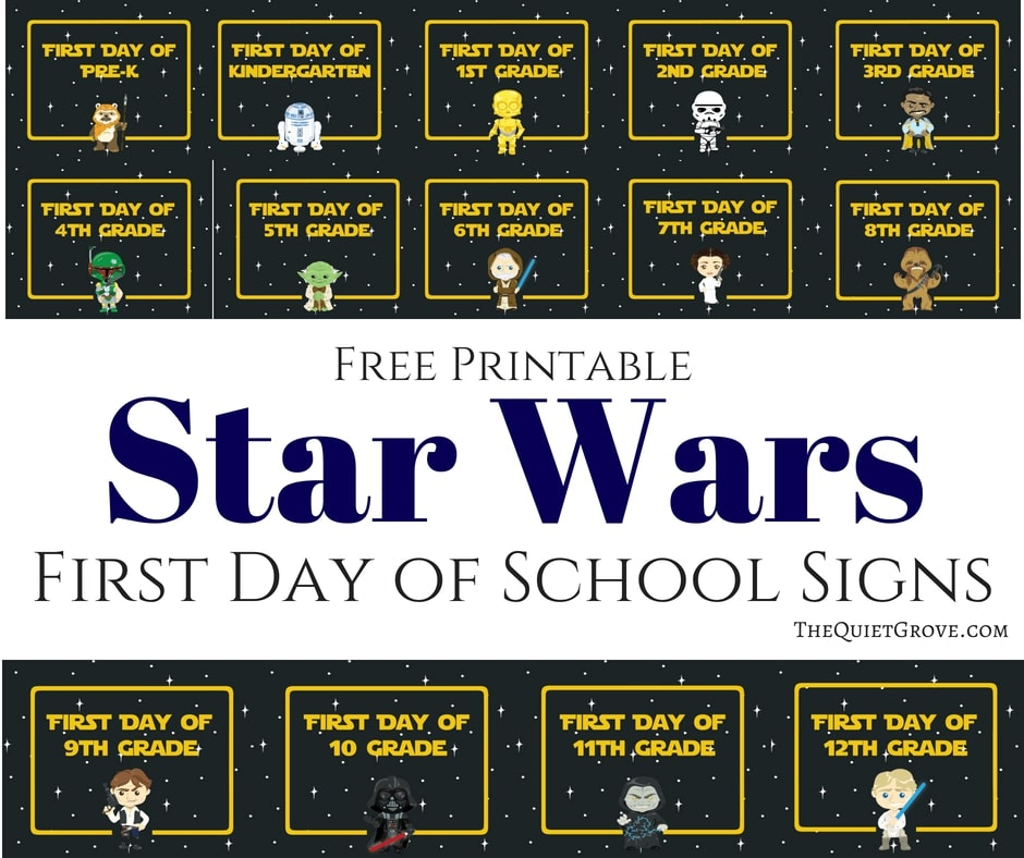 Star wars first day of school printables