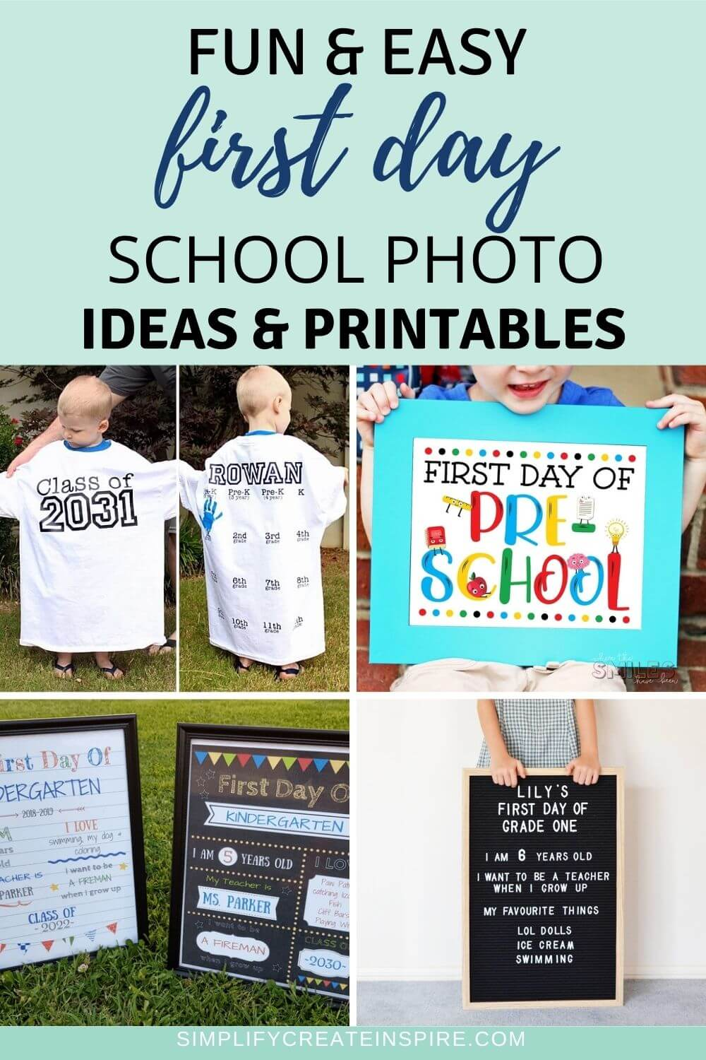 Free first day of school printables and back to school photos