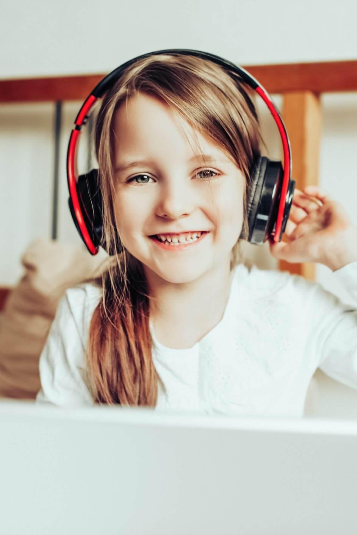 Child listening to audiobook