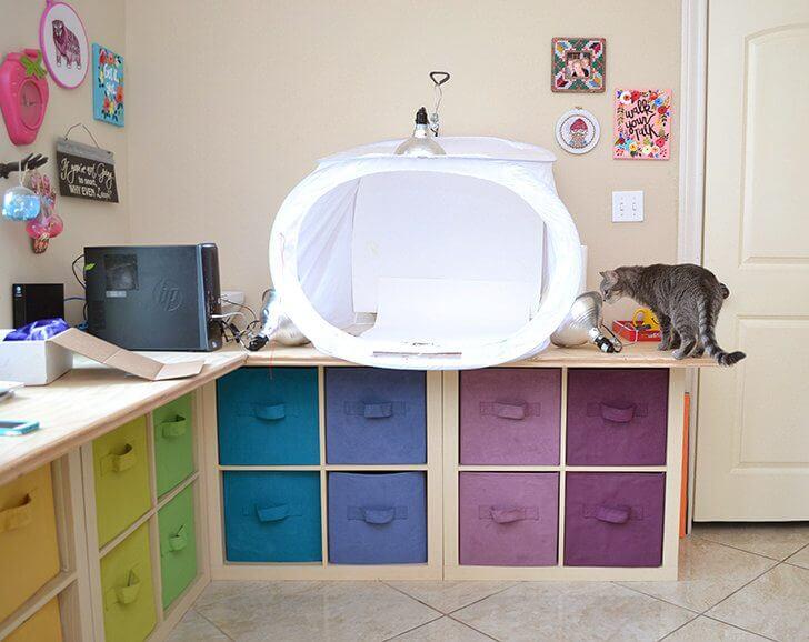 Rainbow craft room makeover