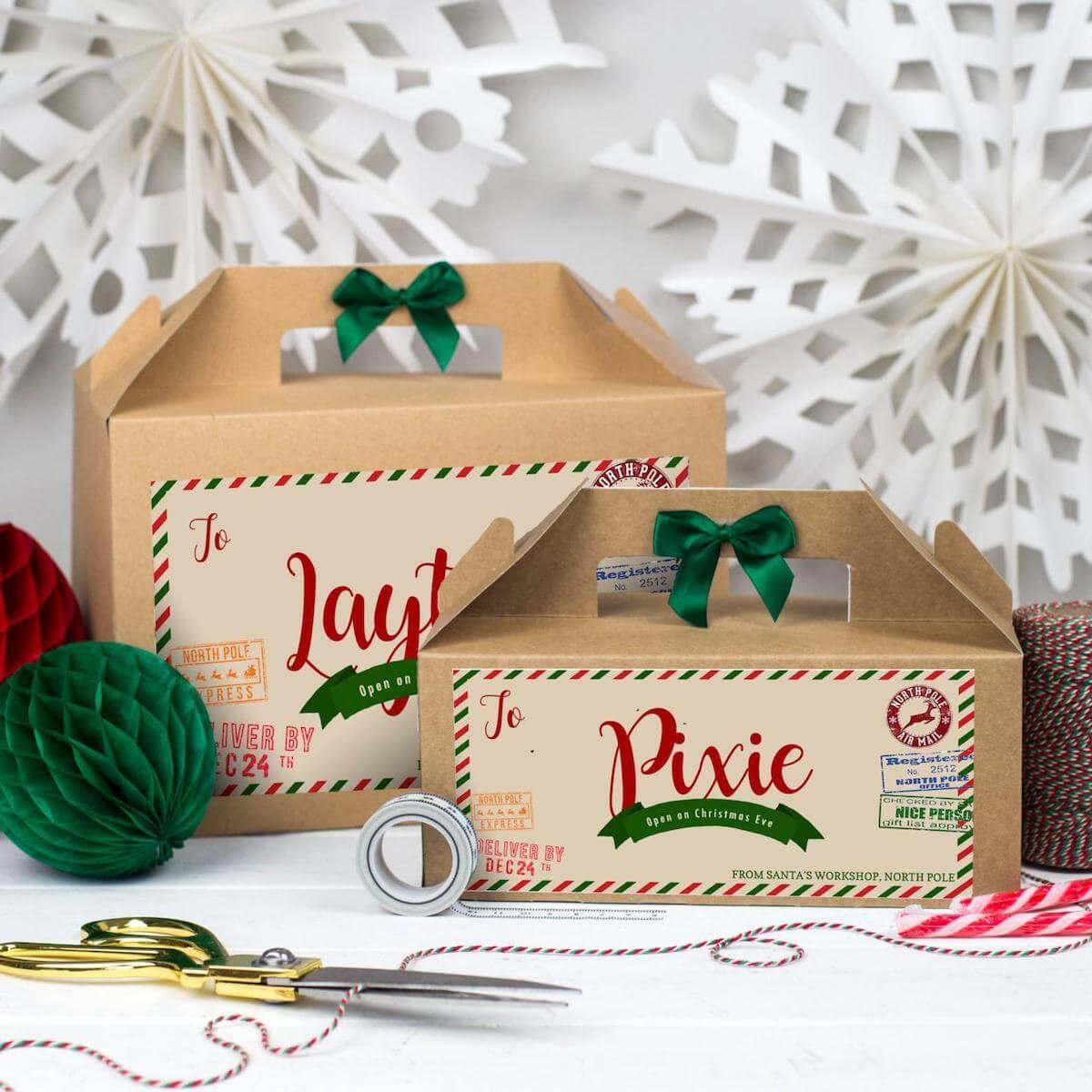 Personalised cardboard christmas eve box
