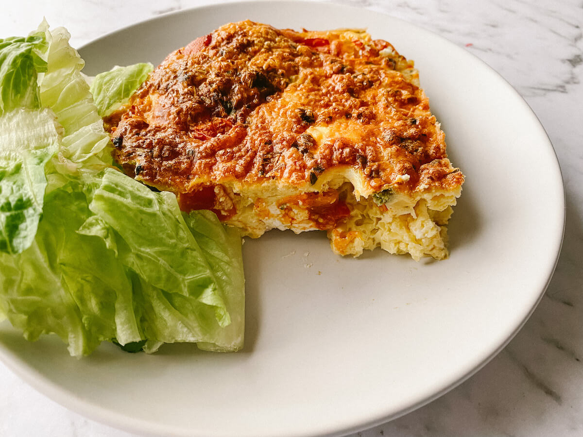 Oven baked frittata with salad