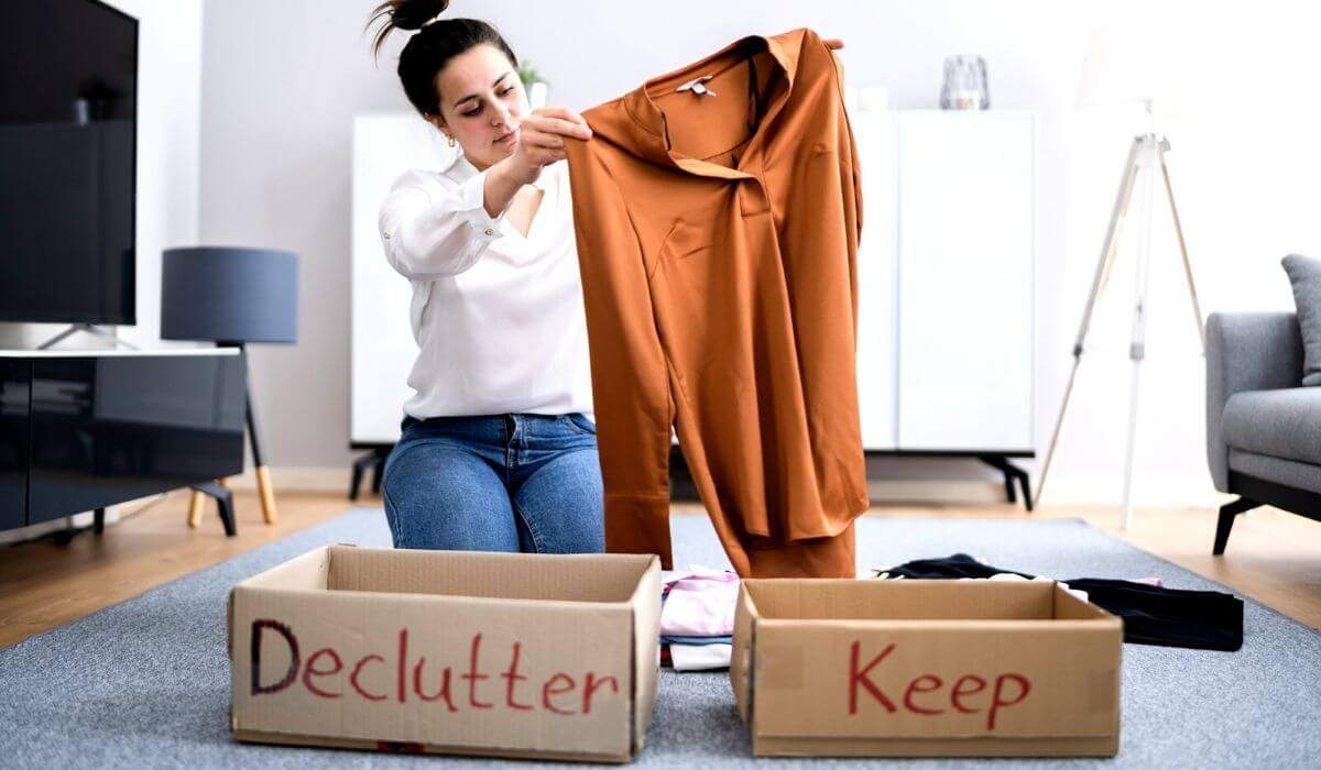 Woman decluttering her house