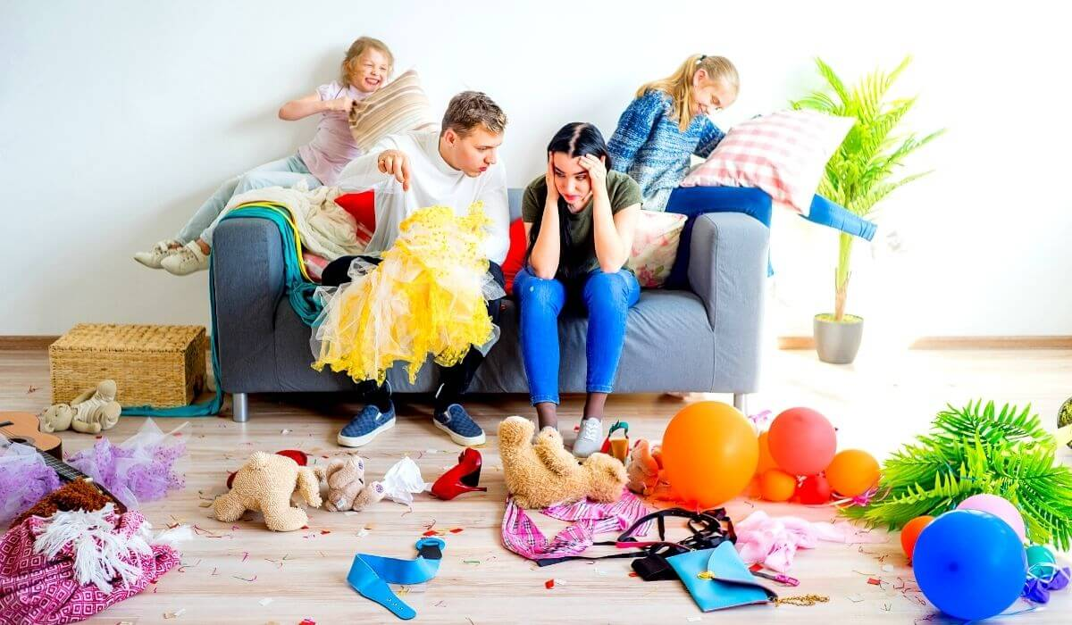 Woman overwhelmed by messy house