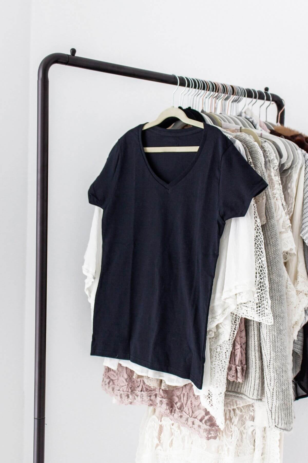 Shirts on clothes rack