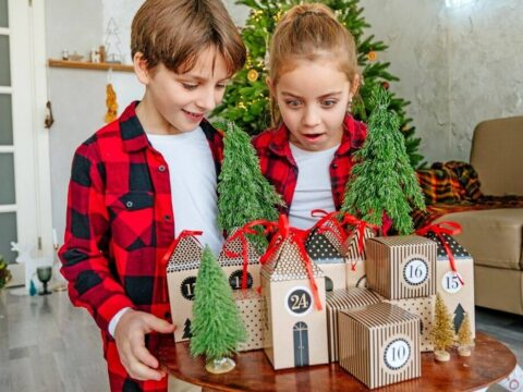 Kids excited about their advent calendar