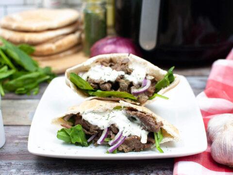Air fryer steak gyros recipe with homemade tzatziki sauce